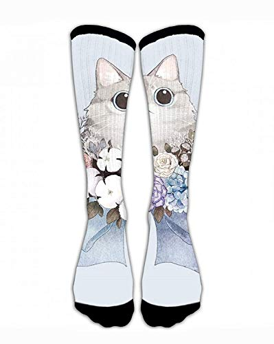 Classics Crew Socks Cute Cat with Flower Funny Crazy Unique Thick Warm Cotton Crew Winter Socks Personalized Gift Socks ()