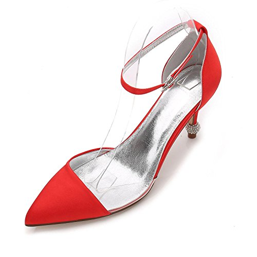 L@YC Scarpe da Donna in Raso Primavera Estate Pompa Scarpe da Sposa Festa di Nozze e Sera Argento Viola F17767-20 Red