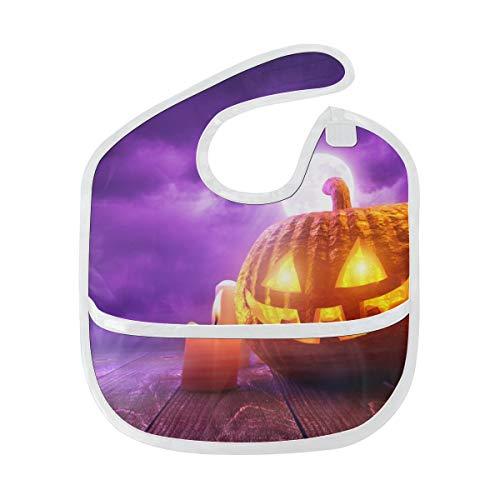 Rtosd Halloween geschnitzte Kürbis Kerze weiche wasserdichte waschbare Fleck und Geruch beständiges Baby das Dribble Sabberlätzchen Lätzchen spuckt Tücher für Säuglingsoverall für 6 24 Monate