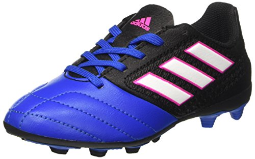 adidas Ace 17.4 FxG J, Chaussures de Football Mixte Enfant, Noir (Core Black/Footwear White/Blue), 35 EU