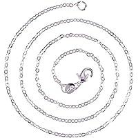 NBEADS 20 hebras de Plata 1,5 mm Cadena Cruzada Collar Enlace Cadena Abalorios con Cierre de mosquetón para Collar y bisutería