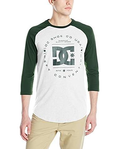 DC Shoes Men's Rebuilt 3/4 Sleeve Baseball Raglan T Shirt Green Heather Gray (Womens 3/4 Sleeve Raglan Tee)