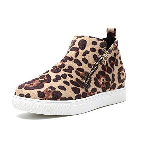 Botines Mujer Zapatillas Tacon Cuña Bajo Sneakers Planos Tobillo Botas Cremallera Calzado Moda Comodos 3.8cm Estampado de Leopardo 40 EU