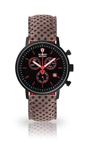 DETOMASO Milano Mens Watch Chronograph Analog Quartz Dark Grey Leather Strap Black dial DT1052-M-812