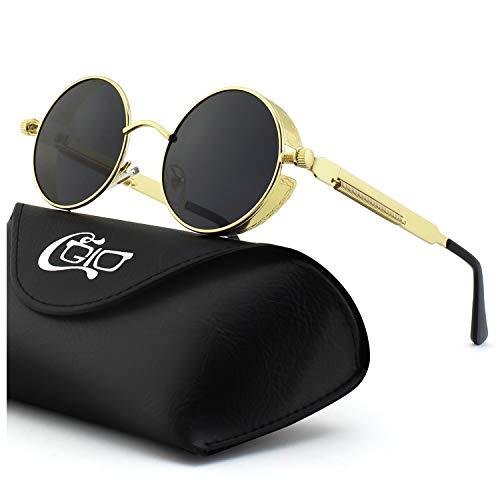 CGID E72 Polarizzate Occhiali da Sole da Uomo Retro Stile Steampunk Rotondi Metallo