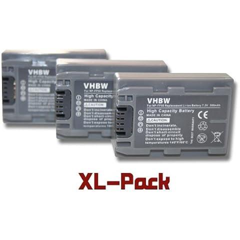3 x vhbw set baterías 600mAh para videocámara sustituye Sony NP-FP30, NP-FP50, NP-FP51, NP-FP60, NP-FP70, NP-FP71, NP-FP90,