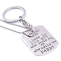 gohigher Daddy And Girl Love Heart Letters Necklace Keyring Chain Jewelry Pendant