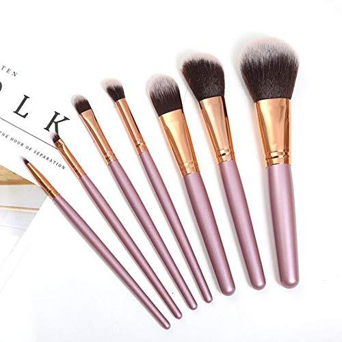 Qnlly Makeup Brushes 7, Makeup Brush Set, Premium Synthetic Foundation Brush Blending Face Powder Blush Concealers Eye Shadows Make Up Brushes Kit (rosa/lila),Pink -