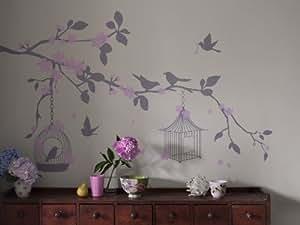 Bambizi Aegle Stickers muraux Cages à oiseaux Rose/gris
