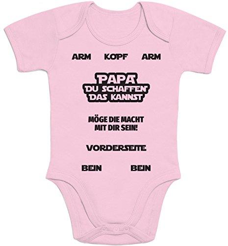 Shirtgeil Papa, DU SCHAFFEN DAS Kannst Möge Die Macht Mit Dir Sein Baby Body Kurzarm-Body 6M Rosa