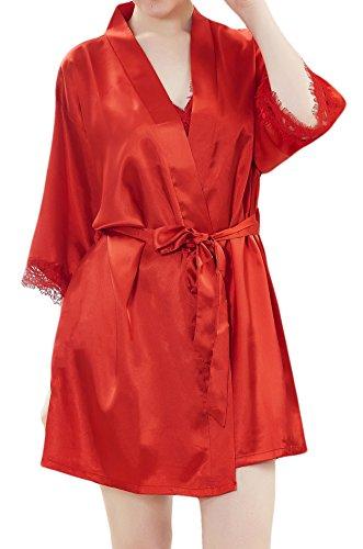 Damen Kimono Satin Morgenmantel Nachtmantel Unterkleid Robe Schlafanzug Nachtwäsche Spitze Blumen V Ausschnitt mit Gürtel M-Mala®, 9704 Rot