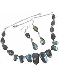 silvesto India Labradorita Gemstone 925plata de ley Collar & pendientes Set pg-40339