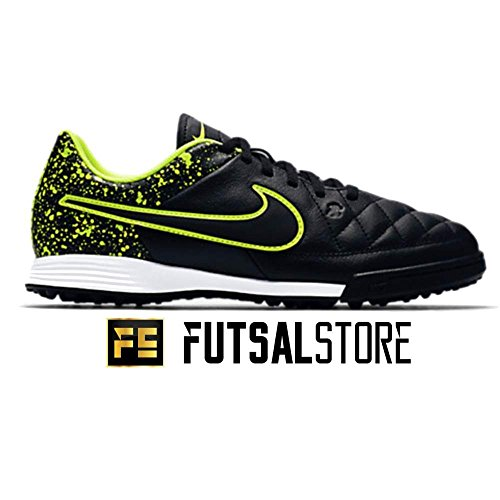 Nike Jr Tiempo Genio Leather Tf, Scarpe da Calcio Unisex – Adulto Nero