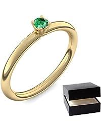 Goldring Smaragd 750 + inkl. Luxusetui + Smaragd Ring Gold Smaragdring Gold (Gelbgold 750) - Grace Amoonic Schmuck Größe 49 (15.6) AM159 GG750SMFA