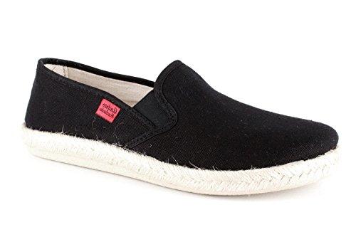 Andres Machado - Unisex Slip-On Schuhe aus schwarzem Leinen. Gummisohle mit Jute-Rand. Gr. 50 (Espadrilles Leinen)