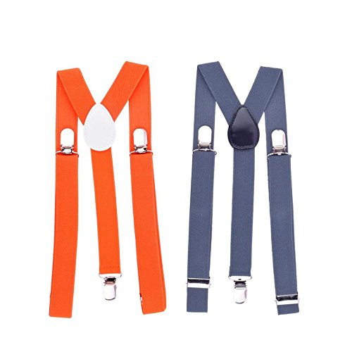 Modishera Elastic Adjustable Men's Suspenders With Clips - Pack of 2 (Orange & Grey)