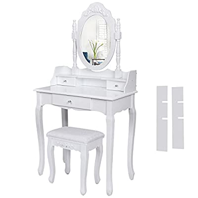 Songmics Wall-Fixed white Dressing Table Set with adjustable mirror and upholstered stool, 3 drawers with 2 Dividers RDT75W