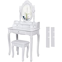 Songmics Tocador con cajones, espejo y taburete mesa de maquillaje blanco RDT75W