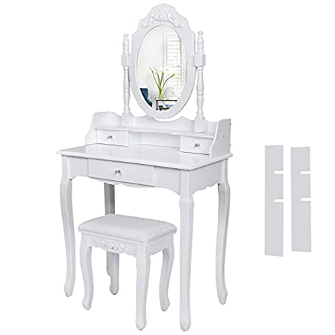 Songmics 3 tiroirs - blanc Coiffeuse table de maquillage avec