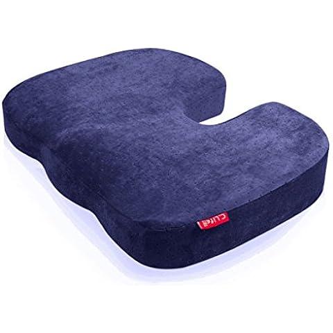 Halovie Suave Coxis Ortopédica Cojín Almohada Espuma de Memoria para Silla Cojín asiento Alivia el Dolor y Corrige la Postura 45*35*7Cm Azul