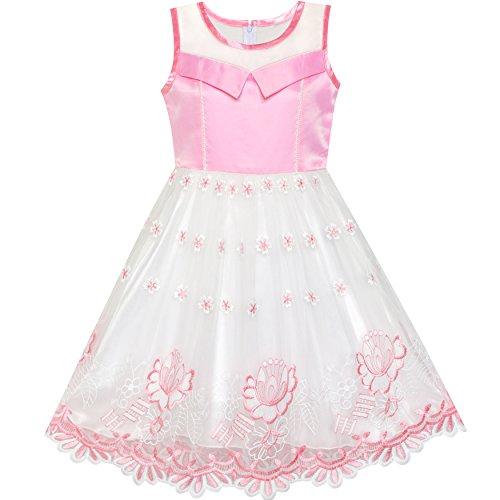 Mädchen Kleid Rosa Blume Bestickte Schnüren Illusion Joch Prinzessin Gr. 122 -