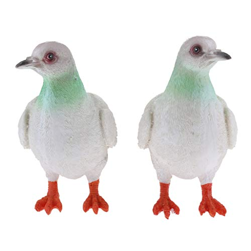 FLAMEER 1 Paire Oiseaux Artificiels Pigeon Statues Décor Sculptures - Gris