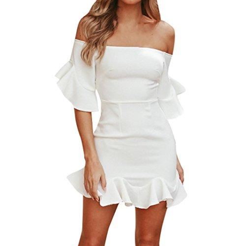 Btruely Boho Abendkleid Sommerkleid Strandkleid Vintage Partykleid A-Line Cocktailkleid Frauen Schulterfrei Kleid Volant Kleid (S, Weiß 2) (Weihnachten Sexy Kleid)