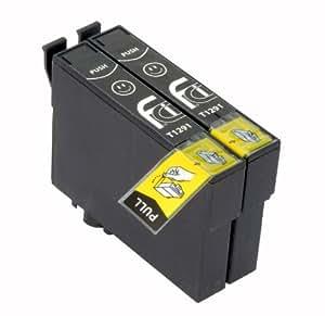 2x T1291XL Blacks FCI Compatible Printer Ink Cartridges To Replace Epson T1291 (Contains: 2x Black)