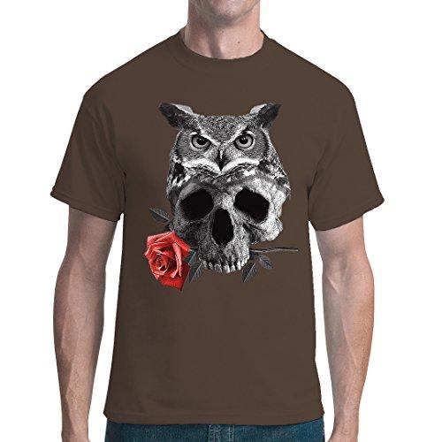 Gothic Fantasy unisex T-Shirt - Eule Schädel Rose by Im-Shirt - Bear Brown M (Schädel-brown-t-shirt)