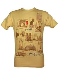Souvenirs de France - T-Shirt Homme Monuments de Paris - Couleur : Beige