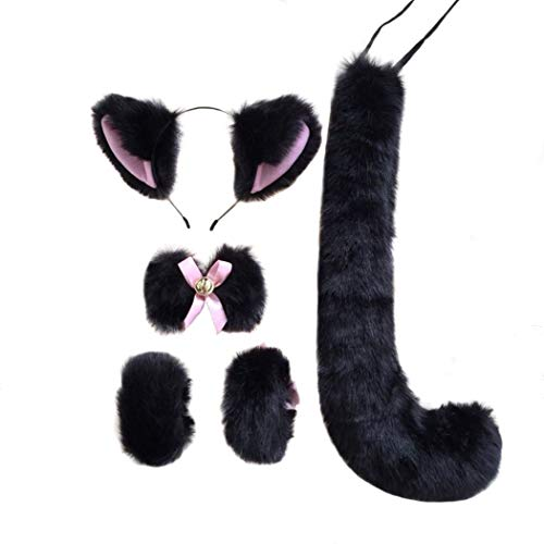 FORLADY Fünfteiliger Anzug Fox Set Fox Ohr Fuchsschwanz Animation Surrounding Cosplay Zubehör Maid Zubehör Cosplay Anime Fox Tail Suit -