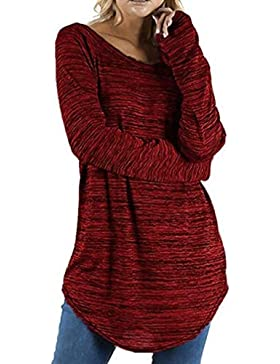 Mujer Blusa Camiseta Tops Manga Larga Traje de Otoño,Sonnena Blusa de Manga Larga Redonda de Color sólido para...