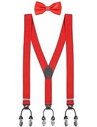 Herren Y-Form 3,5cm Breit 6 Clips Hosenträger & Fliegen 2 in 1 Set Hochelastisch Längenverstellbar Casual Business - für Körpergröße bis 200cm