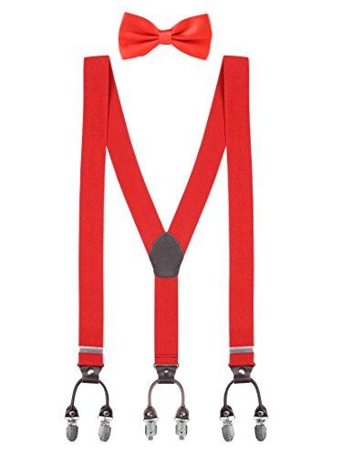 Klassische Smoking-hose (WANYING Herren Gentleman Klassisch 12 * 6,5cm Fliegen & 120 * 3,5cm Y-Form Hosenträger 2 in 1 Set Casual Business - Einfarbig Rot)