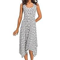WINLISTING Sleeveless Dresses for Women Summer Floral Print Casual High Waist Stripe Irregular Hem Party Club Beach Dress (White, XXL)