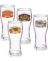 Coffret de 4 verres à bière Bar bière shop, déco, vintage, parfait pour épater vos copains. Contenance : 48 cl Dimensions : diamètre 7 cm hauteur 16.5 cm