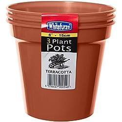 Whitefurze G04018 Lot de 3 pots à fleurs Couleur terre cuite 15cm