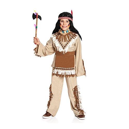Kinder Indianer Junge Kostüm - Kostümplanet® Indianer-Kostüm für Kinder mit Indianer Muster und Wilder Westen Fransen, Größe: 116 Farbe: braun, Verkleidung für Faschings-Kostüm, - Jungen Indianerkostüm