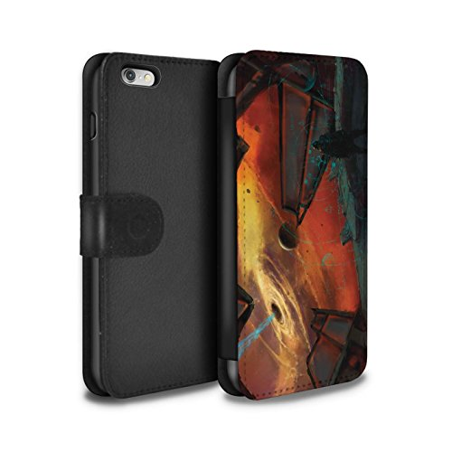 Offiziell Chris Cold PU-Leder Hülle/Case/Tasche/Cover für Apple iPhone 6S+/Plus / Raumfahrzeug Muster / Galaktische Welt Kollektion Schwarzes Loch