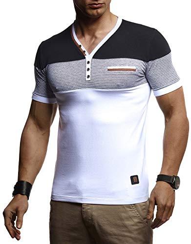 LEIF NELSON Herren Sommer T-Shirt V-Ausschnitt Slim Fit Baumwolle-Anteil | Basic Männer T-Shirt V-Neck Hoodie-Sweatshirt Kurzarm lang | Weißes Jungen Shirt Kurzarmshirts | LN4885 Weiß Small