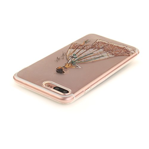 "Apple iPhone 7 Plus 5.5"" hülle,MCHSHOP Ultra Slim Skin Gel TPU hülle weiche Silicone Silikon Schutzhülle Case für Apple iPhone 7 Plus 5.5"" - 1 Kostenlose Stylus (Halbe weiße Blüten) Handbemaltes Kleid"