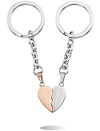 8a0954fe792b MeMeDIY d argent Or Or Rose Trois Ton Acier Inoxydable Porte Clés Coeur Cœur  -