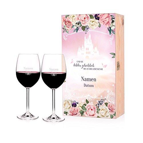 Leonardo 2 Weingläser zur Hochzeit mit Gravur - Märchenhochzeit - Premium Verpackung mit Namen und Datum