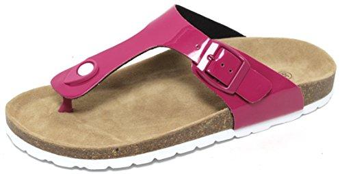 Damen Bio Clogs Bios Pantoletten Sandale Slipper Biolatschen Zehentrenner Sommerpantolette Schuhe Thong Fußbett Echt Leder BEERE/WEISS Gr. 37 – 41