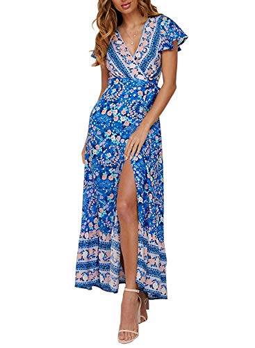 Damen V Ausschnitt Sommerkleid Elegant Vintage Cocktailkleid Swing Strandkleid mit Knöpfen Maxi Light L - Kalte Schulter Kleid