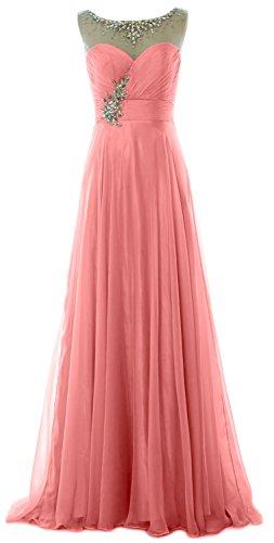 MACloth Elegant Long Prom Dress Illusion Chiffon Wedding Party Formal Gown Blush Pink
