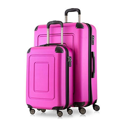 Happy Trolley - 2er Koffer-Set Trolley-Set Rollkoffer Hartschalen-Koffer Reisekoffer Lugano sehr leicht, TSA, (S+XL), Pink -