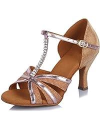 SWDZM Mujer estándar Zapatos de Baile Latinos Satén Strass Ballroom Modelo ...