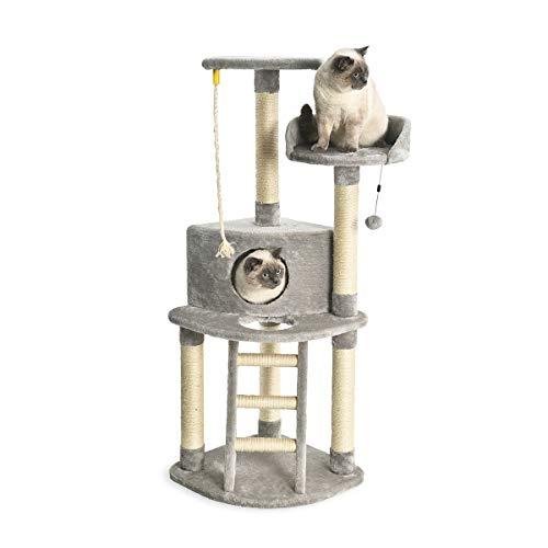 AmazonBasics - Torre en árbol con cerramiento, poste rascador y escalera para gatos, 48,3x48,3x132,1 cm, gris claro