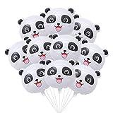 STOBOK Lindo Panda Globo Globo de aluminio para niños Cumpleaños Fiesta Decoración, paquete de 10